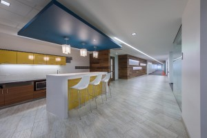Laminart laminate used on the high-use cabinets in the coffee bar area transitioned seamlessly from the natural ones.