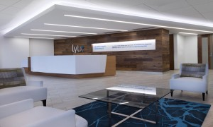 Real wood flooring finds new life on the wall behind the reception desk