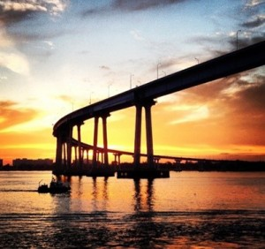 Sunset at the Coronado Bridge by Jeni Champion