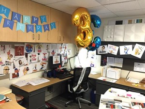 Desk Decorated for a birthday