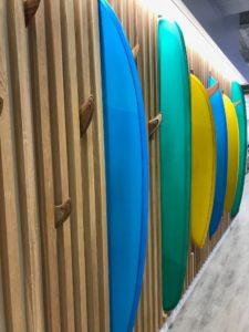 Voit Real Estate La Jolla Surfboard Feature Wall, Design and picture by ID Studios