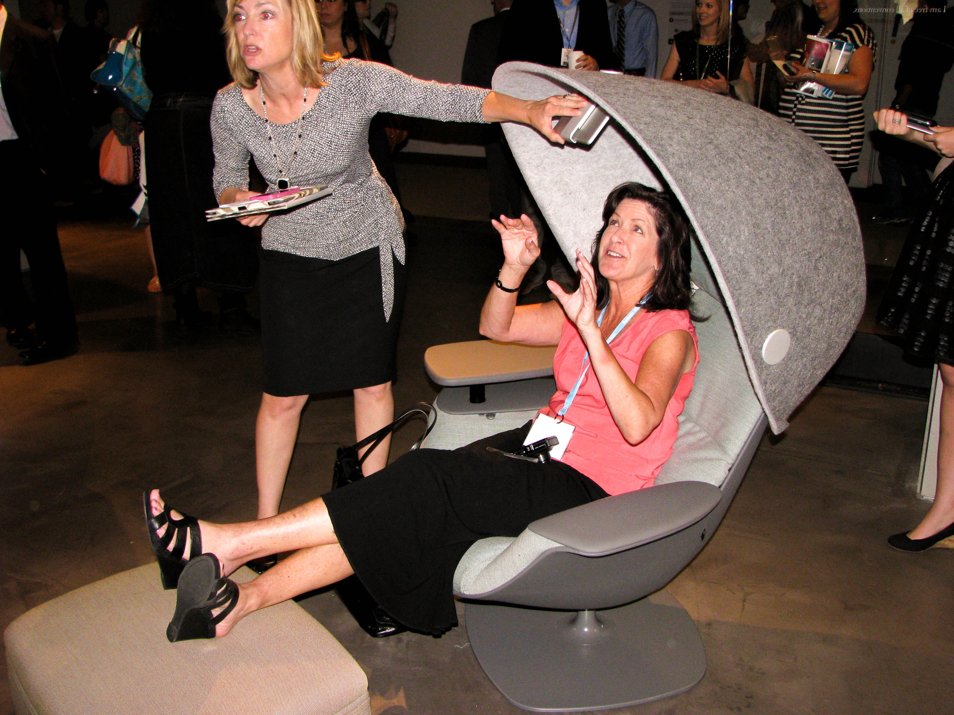 And here is Amy checking out the innovative technology integrated into this chair!
